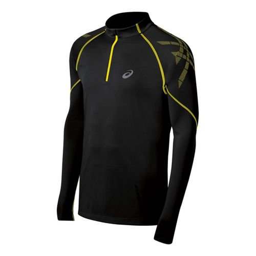 Mens ASICS Speed Long Sleeve 1/2 Zip Technical Tops - Performance Black L