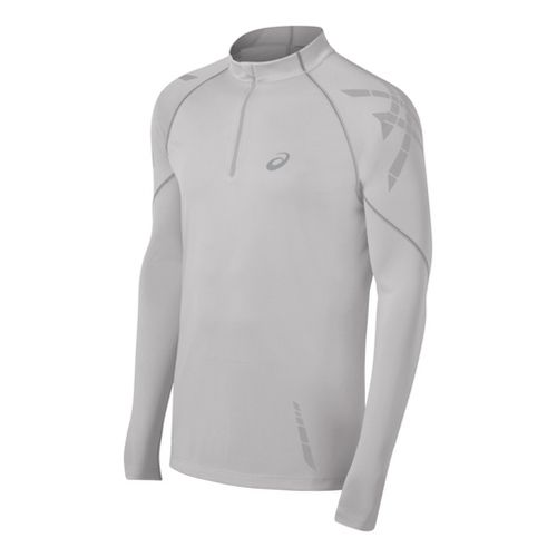 Mens ASICS Speed Long Sleeve 1/2 Zip Technical Tops - Pale Grey L
