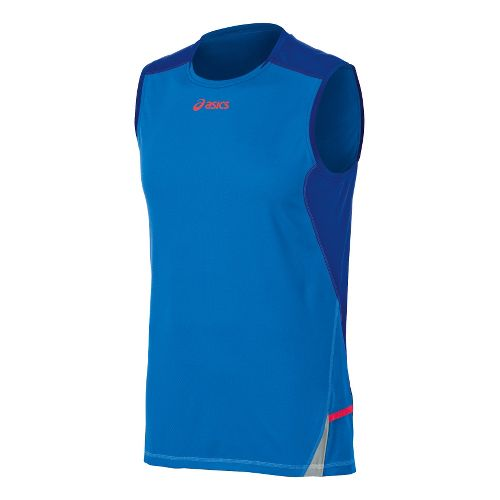 Mens ASICS Fuji Sleeveless Technical Tops - Atomic Blue/Speed Blue M