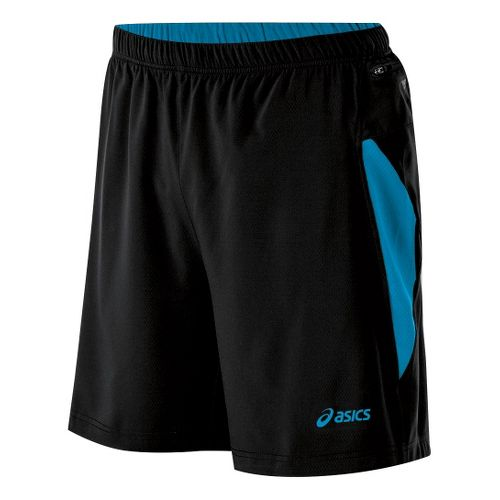 Mens ASICS Fuji 2-N-1 Lined Shorts - Performance Black/Atomic Blue M