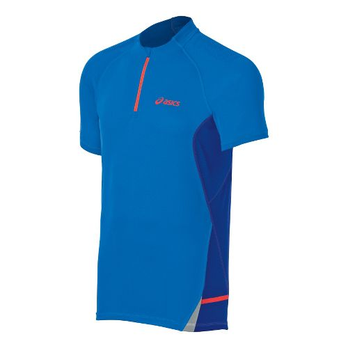 Mens ASICS Fuji 1/2 Zip Short Sleeve Technical Tops - Atomic Blue/Speed Blue L