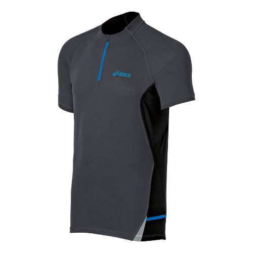 Mens ASICS Fuji 1/2 Zip Short Sleeve Technical Tops - Stone/Performance Black L