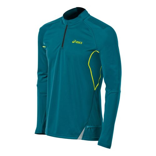 Mens ASICS Fuji Long Sleeve 1/2 Zip Technical Tops - Cool Teal M