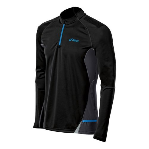 Mens ASICS Fuji Long Sleeve 1/2 Zip Technical Tops - Performance Black XXL