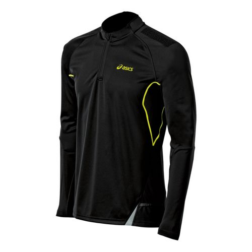 Mens ASICS Fuji Long Sleeve 1/2 Zip Technical Tops - Performance Black/Electric Lime M