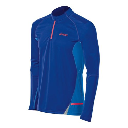 Mens ASICS Fuji Long Sleeve 1/2 Zip Technical Tops - Speed Blue/Atomic Blue S
