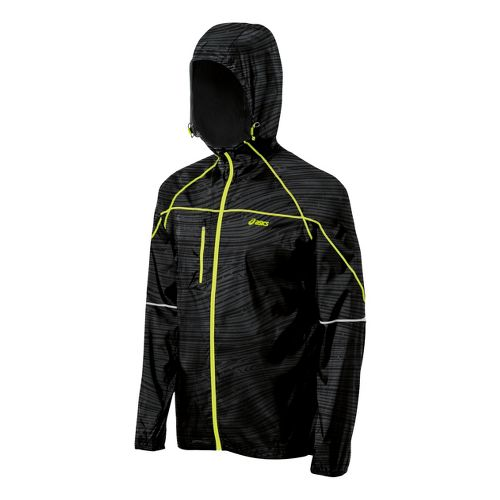 Mens ASICS Fuji Packable Running Jackets - Black Wood Print L