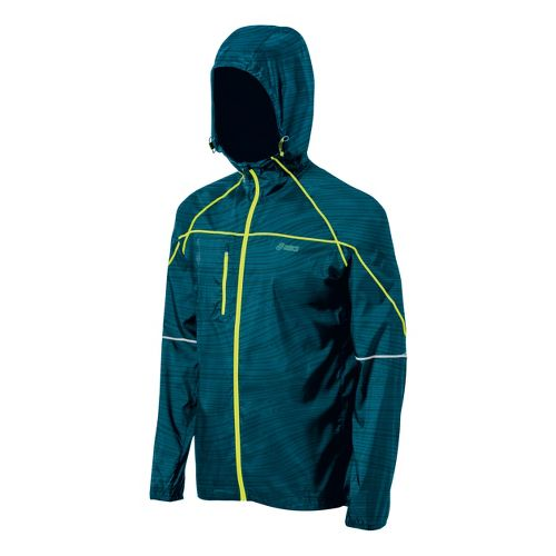 Mens ASICS Fuji Packable Running Jackets - Cool Teal Print XL