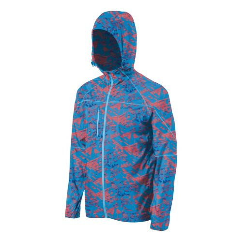 Mens ASICS Fuji Packable Running Jackets - Maze Atomic Blue L