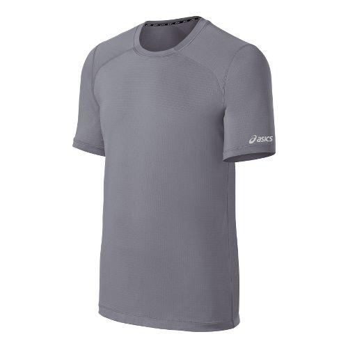 Mens ASICS PR Lyte Short Sleeve Technical Tops - Frost/Black S