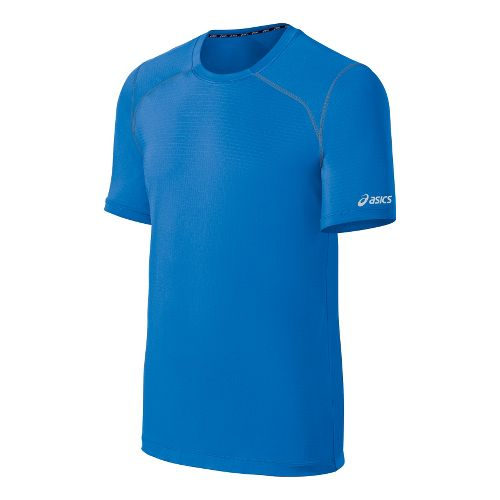 Mens ASICS PR Lyte Short Sleeve Technical Tops - Neon Blue/True Navy XXL