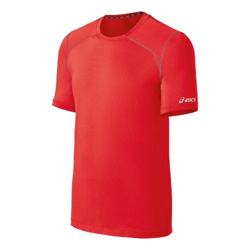 Mens ASICS PR Lyte Short Sleeve Technical Tops - Red Heat/Steel L