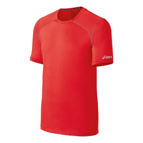Mens ASICS PR Lyte Short Sleeve Technical Tops - Red Heat/Steel S