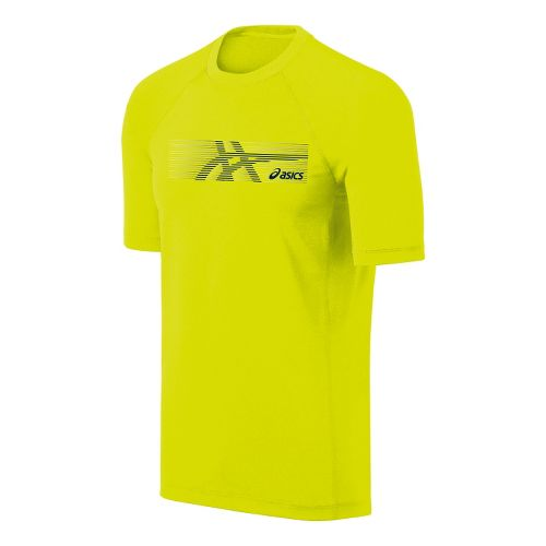 Mens ASICS Streaked Tee Short Sleeve Technical Tops - Electric Lime XL