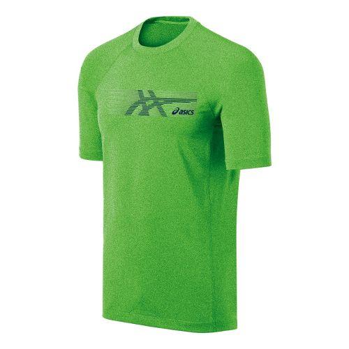 Mens ASICS Streaked Tee Short Sleeve Technical Tops - Green Gecko L