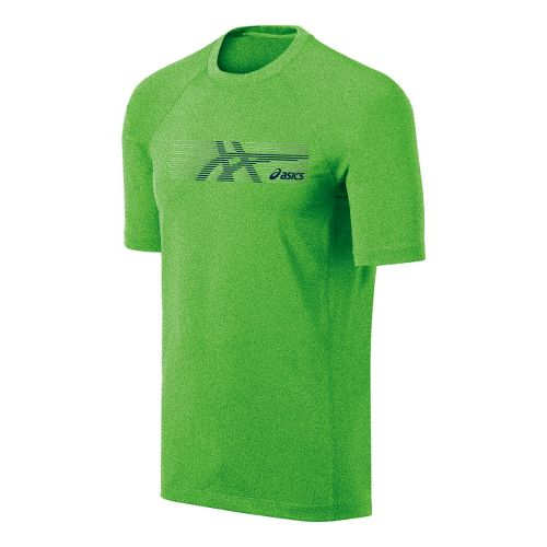 Mens ASICS Streaked Tee Short Sleeve Technical Tops - Green Gecko S