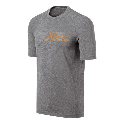 Mens ASICS Streaked Tee Short Sleeve Technical Tops - Heather Grey L