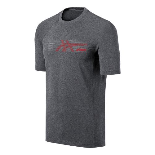 Mens ASICS Streaked Tee Short Sleeve Technical Tops - Heather Grey/Red Heat XL