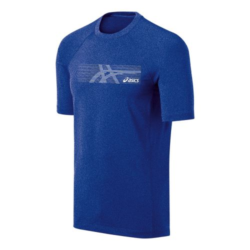 Mens ASICS Streaked Tee Short Sleeve Technical Tops - Surf Heather L