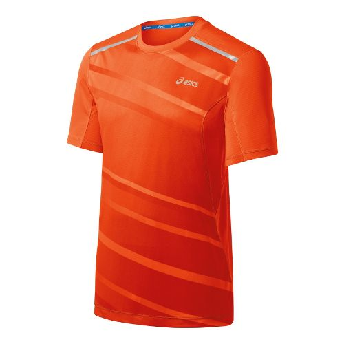 Mens ASICS Gradient Short Sleeve Technical Tops - Radiant/Fuel XL