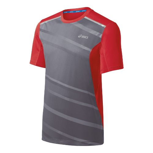 Mens ASICS Gradient Short Sleeve Technical Tops - True Red M
