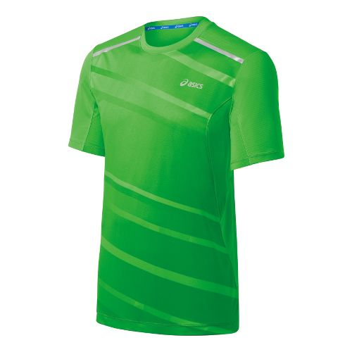 Mens ASICS Gradient Short Sleeve Technical Tops - Track/Frost XL