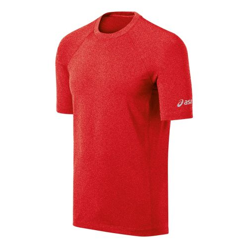 Mens ASICS Everyday III Short Sleeve Technical Tops - Red Heat Heather M