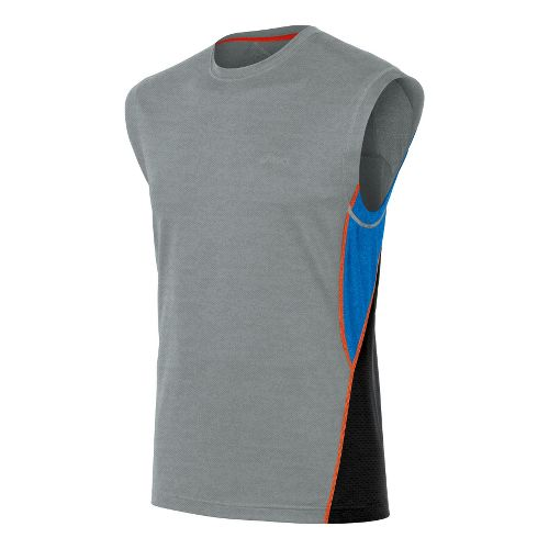 Mens ASICS X-Flexer Muscle Sleeveless Technical Tops - Grey Heather/Jet Black S