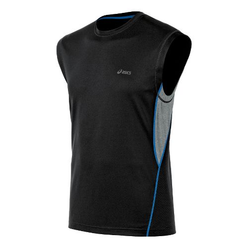 Mens ASICS X-Flexer Muscle Sleeveless Technical Tops - Jet Black/Grey Heather L