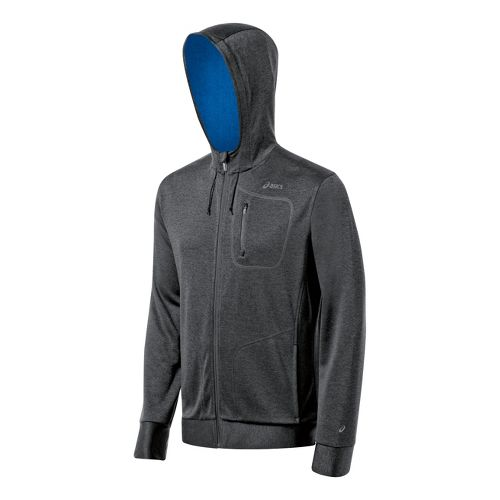 Mens ASICS Exertion Running Jackets - Grey Heather/Jet Black L