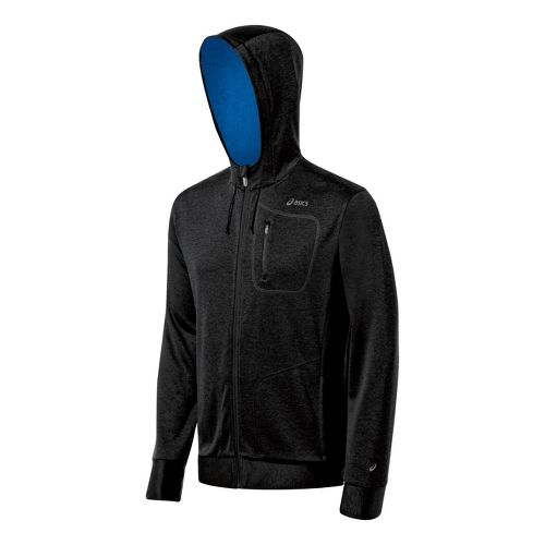 Mens ASICS Exertion Running Jackets - Jet Black/Electric S