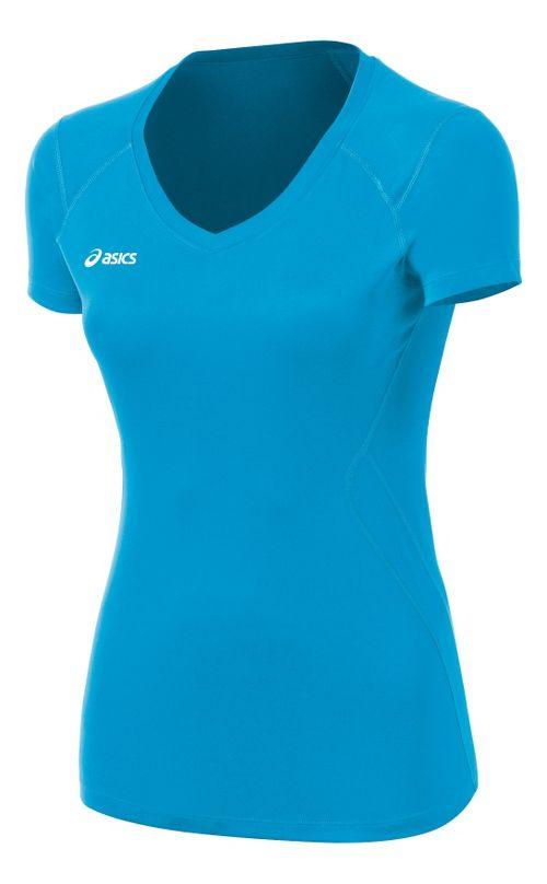 Womens ASICS Set Jersey Short Sleeve Technical Tops - Atomic Blue XS