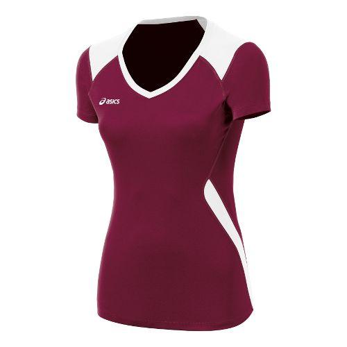 Womens ASICS Set Jersey Short Sleeve Technical Tops - Cardinal/White M