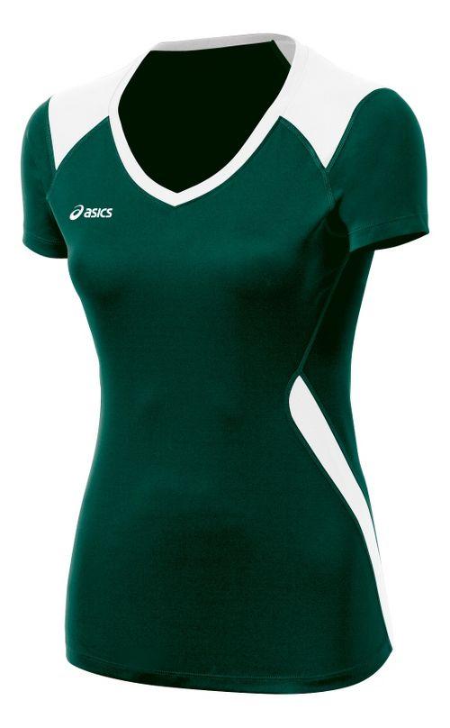 Womens ASICS Set Jersey Short Sleeve Technical Tops - Forest/White XXL