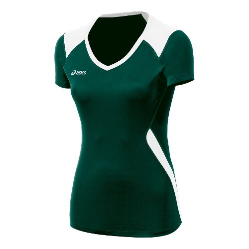 Womens ASICS Set Jersey Short Sleeve Technical Tops - Forest/White L