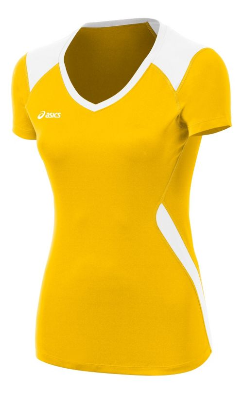 Womens ASICS Set Jersey Short Sleeve Technical Tops - Gold/White L