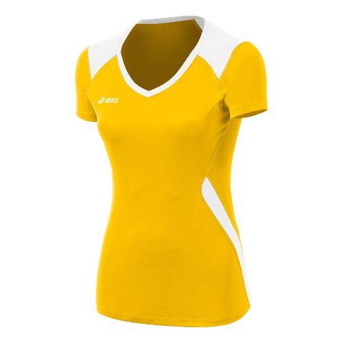 Womens ASICS Set Jersey Short Sleeve Technical Tops - Gold/White XL
