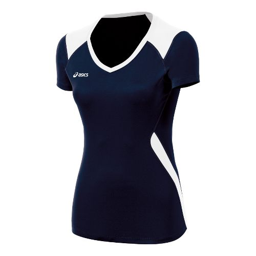 Womens ASICS Set Jersey Short Sleeve Technical Tops - Navy/White L