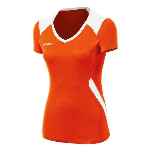 Womens ASICS Set Jersey Short Sleeve Technical Tops - Orange/White M