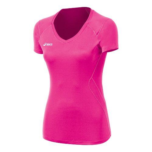 Womens ASICS Set Jersey Short Sleeve Technical Tops - PinkGlo XL