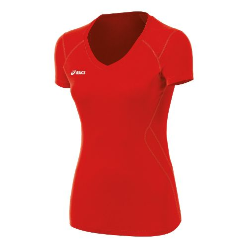 Womens ASICS Set Jersey Short Sleeve Technical Tops - Red XS