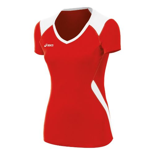 Womens ASICS Set Jersey Short Sleeve Technical Tops - Red/White XS