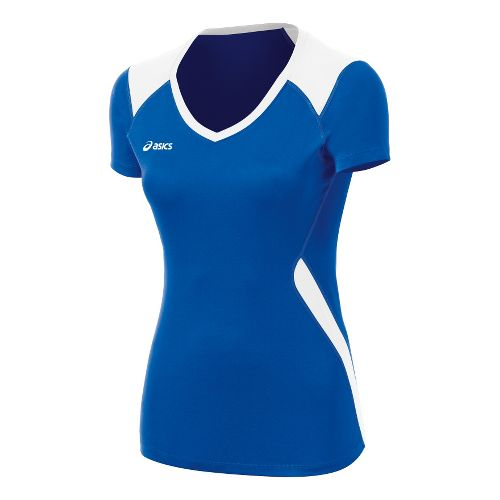 Womens ASICS Set Jersey Short Sleeve Technical Tops - Royal/White XXL