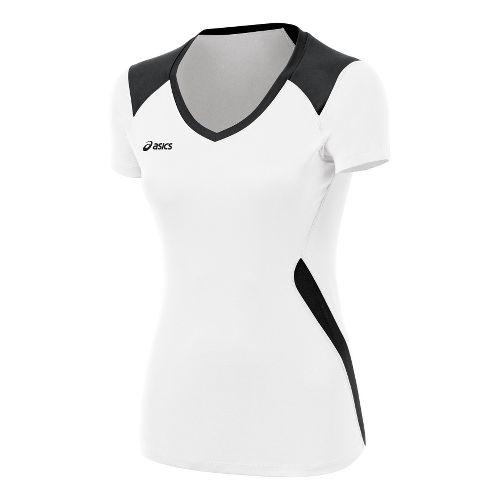 Womens ASICS Set Jersey Short Sleeve Technical Tops - White/Black XS