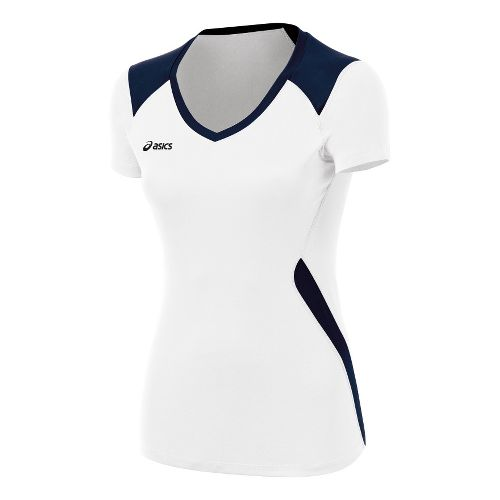 Womens ASICS Set Jersey Short Sleeve Technical Tops - White/Navy XL