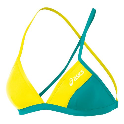 Womens ASICS Kanani Bikini Top Swimming UniSuits - Lemon/Teal L