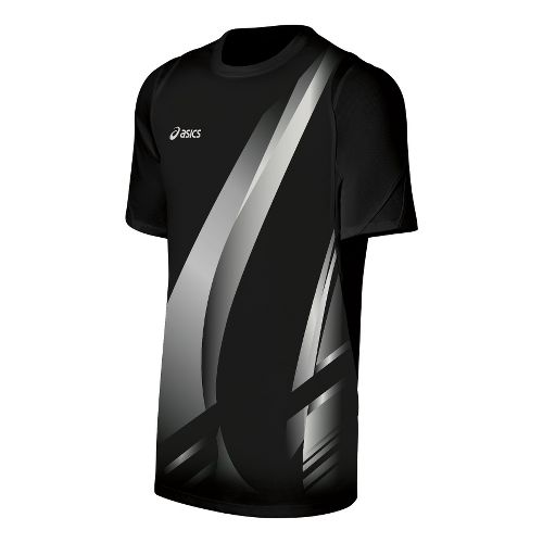 Mens ASICS Put Away Jersey Short Sleeve Technical Tops - Black/White XL