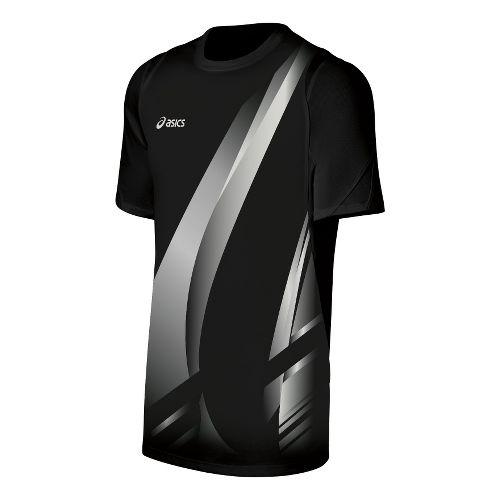 Mens ASICS Put Away Jersey Short Sleeve Technical Tops - Black/White XXL