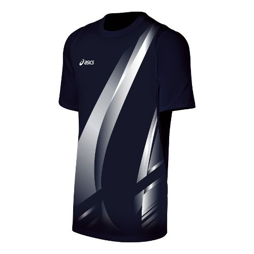 Mens ASICS Put Away Jersey Short Sleeve Technical Tops - Navy/White L