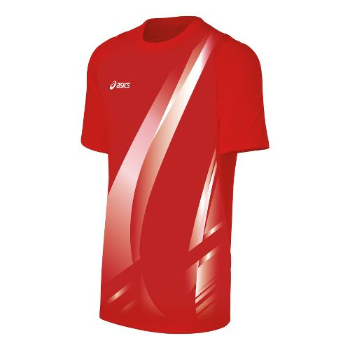 Mens ASICS Put Away Jersey Short Sleeve Technical Tops - Red/White XL